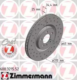 Вентильований гальмівний диск з перфорацією OTTO ZIMMERMANN 600.3215.52 малюнок 0