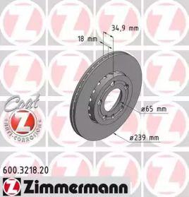 Перфорированный тормозной диск 'OTTO ZIMMERMANN 600.3218.20'.