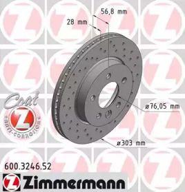 Вентилируемый тормозной диск с перфорацией на Фольксваген Амарок 'OTTO ZIMMERMANN 600.3246.52'.