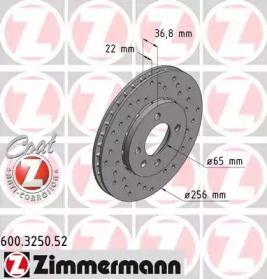 Перфорированный тормозной диск на VOLKSWAGEN UP 'OTTO ZIMMERMANN 600.3250.52'.