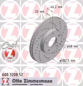 Вентильований гальмівний диск з перфорацією OTTO ZIMMERMANN 600.3208.52 малюнок 0