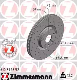 Вентилируемый тормозной диск с перфорацией на VOLVO S90 'OTTO ZIMMERMANN 610.3726.52'.
