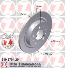 Тормозной диск на Вольво С90 'OTTO ZIMMERMANN 610.3704.20'.