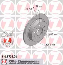 Тормозной диск на VOLVO S90 'OTTO ZIMMERMANN 610.3705.20'.
