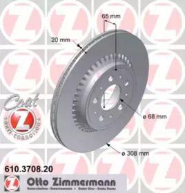 Перфорированный тормозной диск на Вольво ХС90 'OTTO ZIMMERMANN 610.3708.20'.