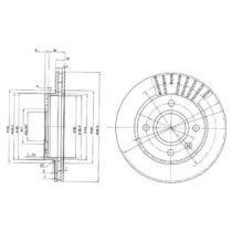 Вентилируемый тормозной диск на Форд Курьер 'DELPHI BG2440C'.
