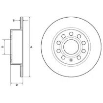 Тормозной диск на SKODA YETI 'DELPHI BG3834C'.