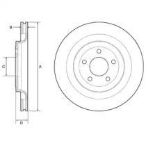 Вентилируемый тормозной диск на Форд Мустанг 'DELPHI BG4832C'.