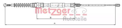 Трос ручника на SKODA OCTAVIA A5 'METZGER 10.7518'.