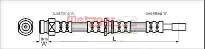 Гальмівний шланг на MITSUBISHI CARISMA 'METZGER 4113315'.