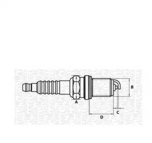 Свічка запалювання на MAZDA XEDOS 6 'MAGNETI MARELLI 062000782304'.