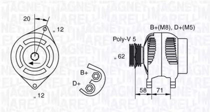 Генератор MAGNETI MARELLI 063321485010 технічний малюнок 0