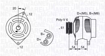 Генератор MAGNETI MARELLI 063321819010 технічний малюнок 0