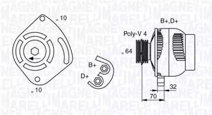 Генератор MAGNETI MARELLI 063321919010 технічний малюнок 0