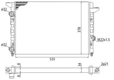 Радіатор охолодження двигуна 'MAGNETI MARELLI 350213104403'.