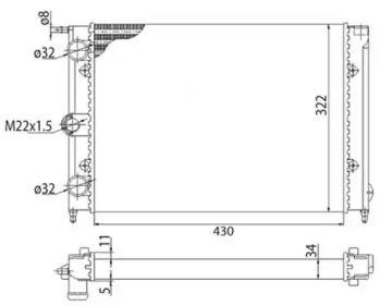 Радіатор охолодження двигуна MAGNETI MARELLI 350213201003 технічний малюнок 0