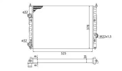 Радіатор охолодження двигуна MAGNETI MARELLI 350213808003 технічний малюнок 0